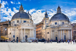 Santa Maria in Montesanto and Santa Maria dei Miracoli on piazza del Popolo in Rome, Italy